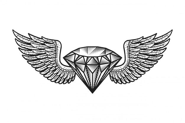 Modèle De Diamant Ailé Monochrome Vecteur gratuit