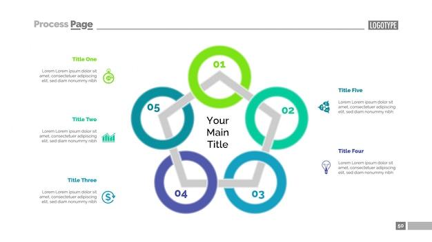 Modèle de diapositive de diagramme du pentagone Vecteur gratuit