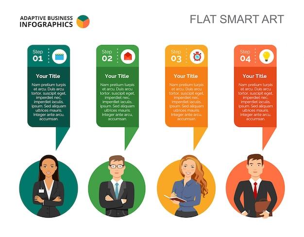 Modèle De Diapositive Diagramme En Quatre étapes Vecteur gratuit