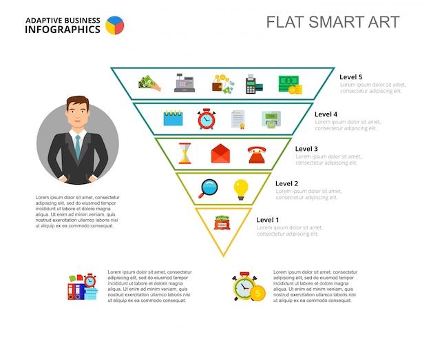 Modèle De Diapositive De Pyramide Inversée Vecteur Premium