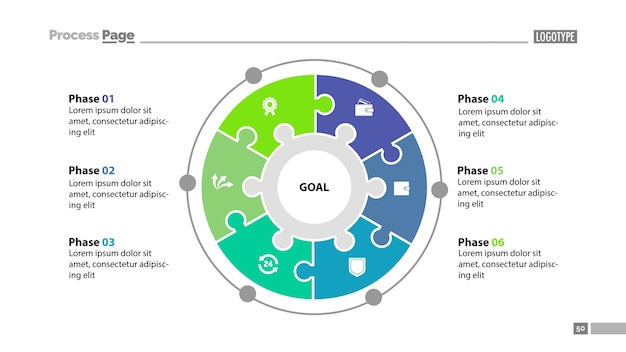 Modèle de diapositive six elements Vecteur gratuit