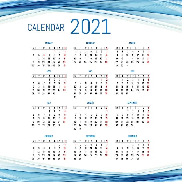 Modèle De Disposition De Calendrier 2021 Moderne Avec Fond De Vague Vecteur gratuit