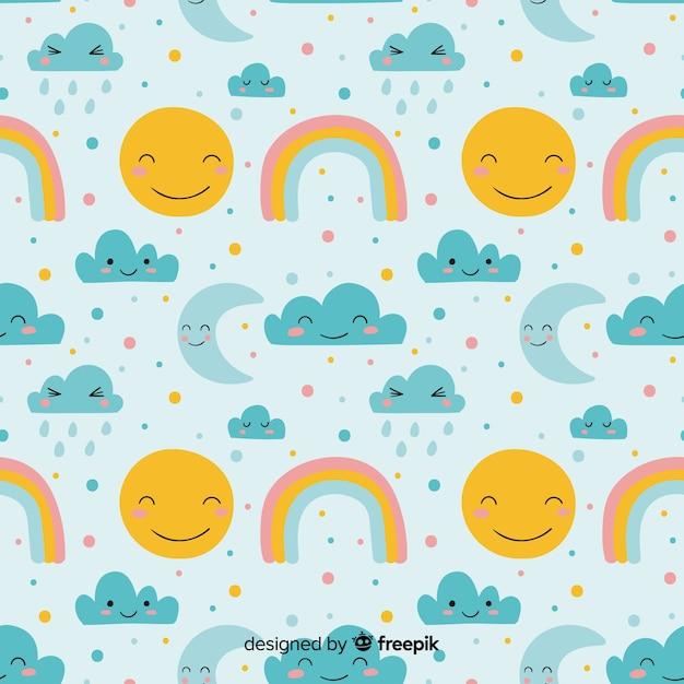 Modèle de doodle ciel dessiné à la main Vecteur gratuit