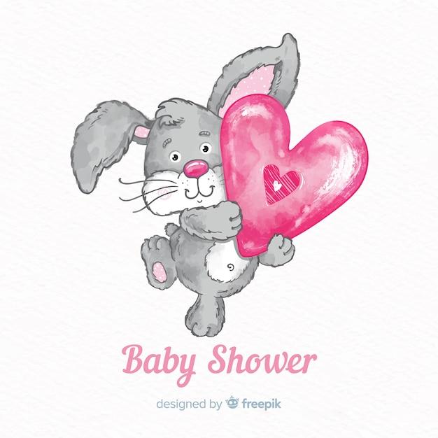 Modèle de douche de bébé aquarelle Vecteur gratuit