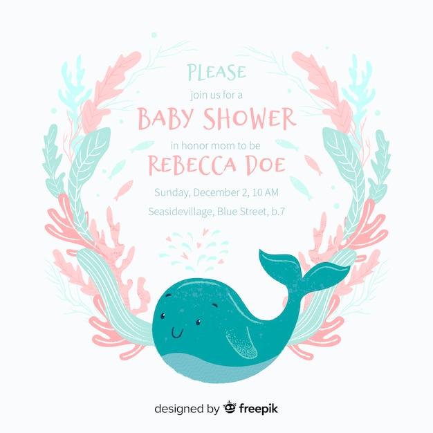 Modèle de douche de bébé mignon avec baleine Vecteur gratuit