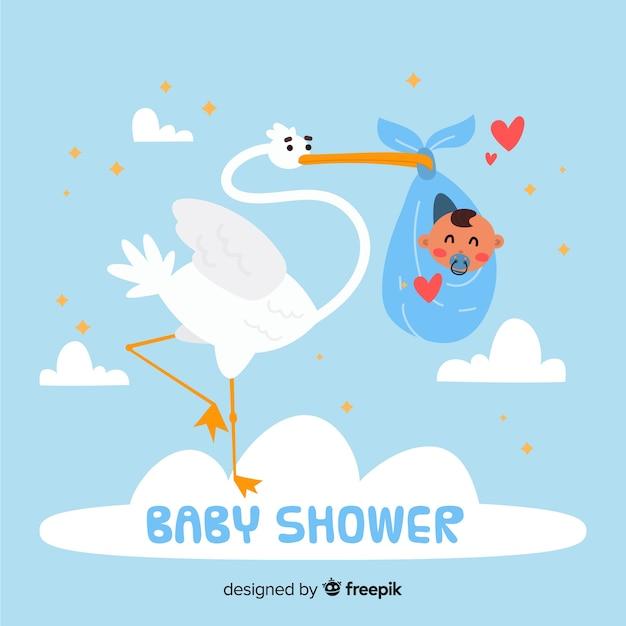 Modèle de douche de bébé mignon avec cigogne Vecteur gratuit