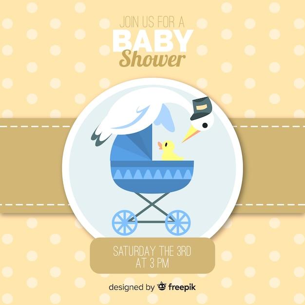 Modèle de douche de bébé mignon avec du poulet Vecteur gratuit