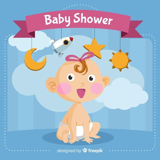 Modèle de douche de bébé mignon Vecteur gratuit