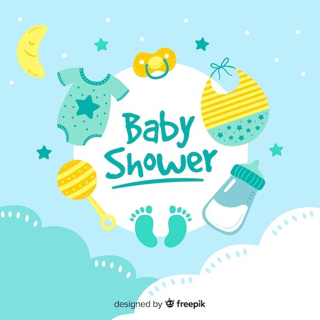 Modèle de douche de bébé pour garçon Vecteur gratuit