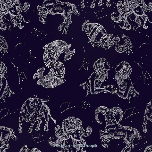 Modèle du zodiaque réaliste dessiné à la main Vecteur gratuit