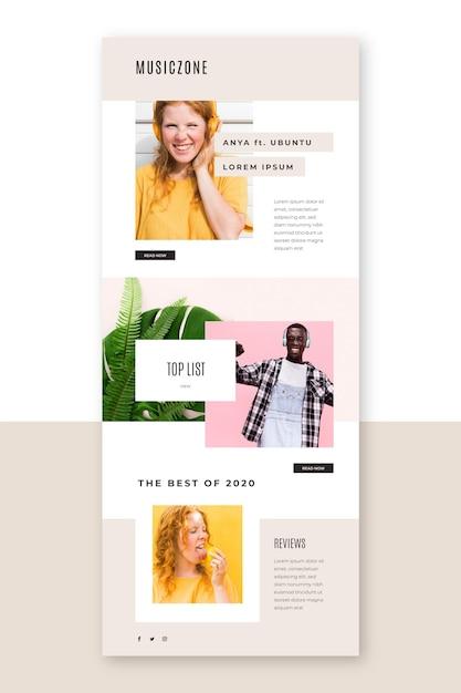 Modèle D'e-mail De Blogging Avec Photos Vecteur gratuit