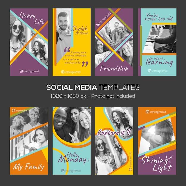 Modèle éditable d'histoires instagram Vecteur Premium