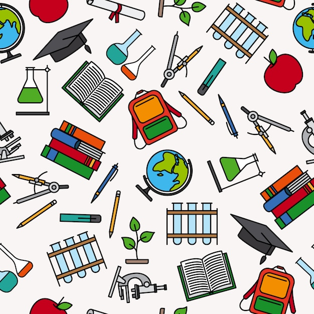 Modèle d'éducation avec éléments de fourniture scolaire Vecteur Premium
