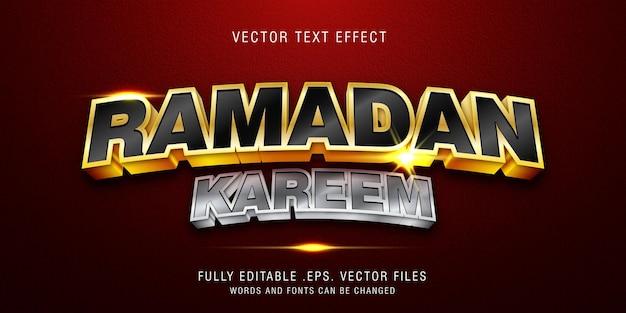 Modèle D'effet De Style De Texte Ramadan Kareem Vecteur Premium