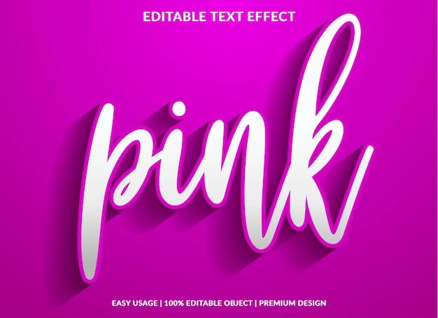 Modèle D'effet De Texte Rose Avec Style De Type 3d Et Texte En Gras Vecteur Premium