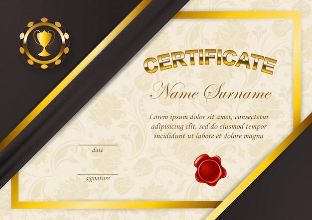 Modèle élégant de certificat, diplôme Vecteur Premium