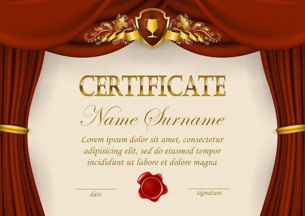 Modèle élégant De Certificat Vecteur Premium