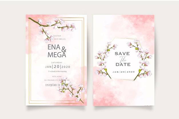 Modèle élégant D'invitation De Mariage De Fleur De Cerisier Vecteur Premium