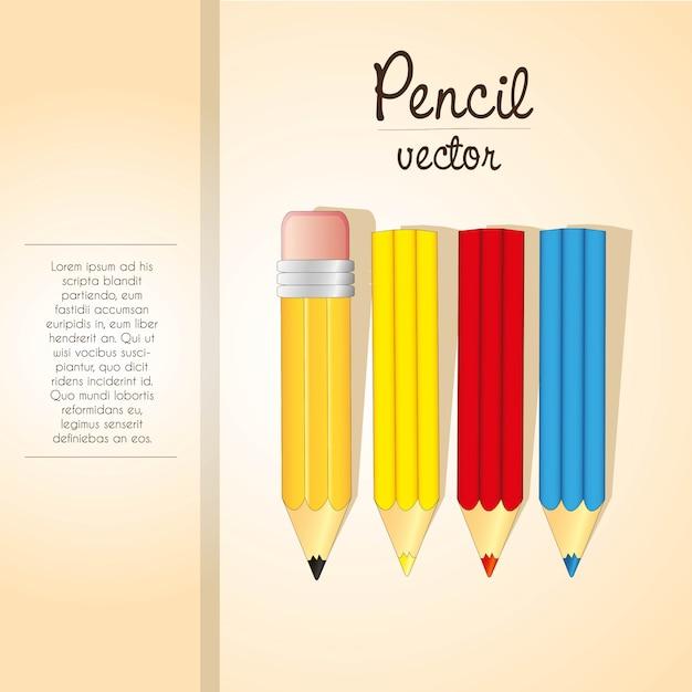 Modèle élégant De Rayure Et D'espace Pour Crayons De Couleur Vecteur Premium