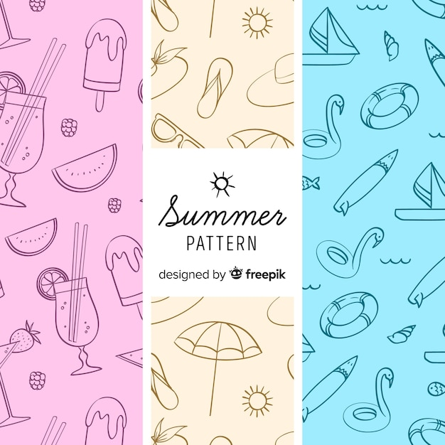 Modèle d'élément coloré de l'été Vecteur gratuit