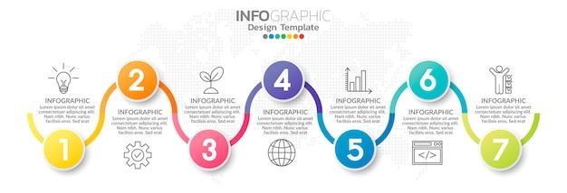 Modèle D'élément Infographie Coloré Vecteur Premium