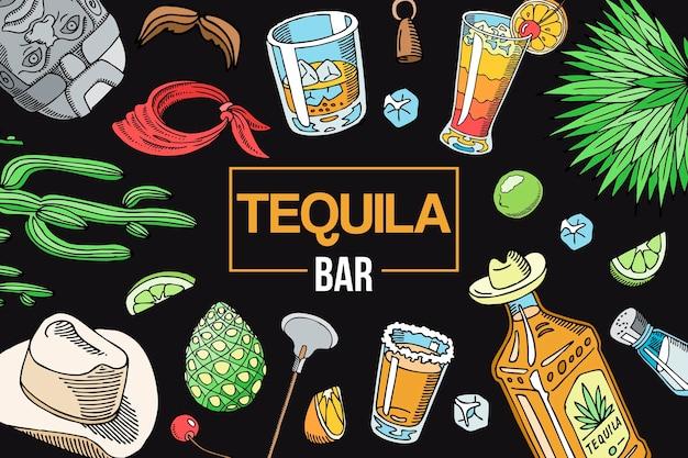 Modèle d'éléments de barre tequila Vecteur Premium