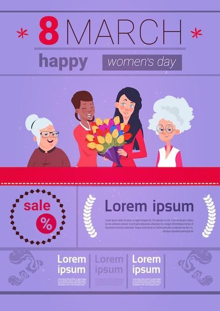 Modèle d'éléments d'infographie pour la journée internationale des femmes avec différentes dames sur fond du 8 mars avec espace de copie Vecteur Premium