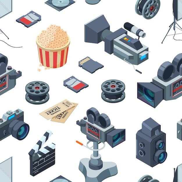 Modèle D'éléments Isométriques Cinématographe Ou Illustration Vecteur Premium