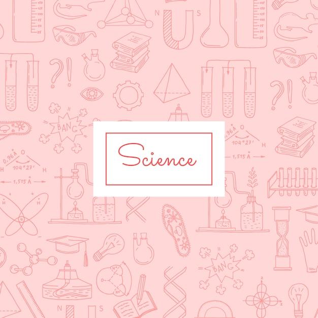 Modèle d'éléments scientifiques ou chimiques esquissés Vecteur Premium