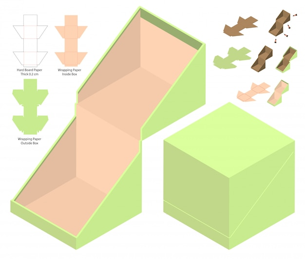 Modèle d'emballage de boîte découpée avec des matrices Vecteur Premium