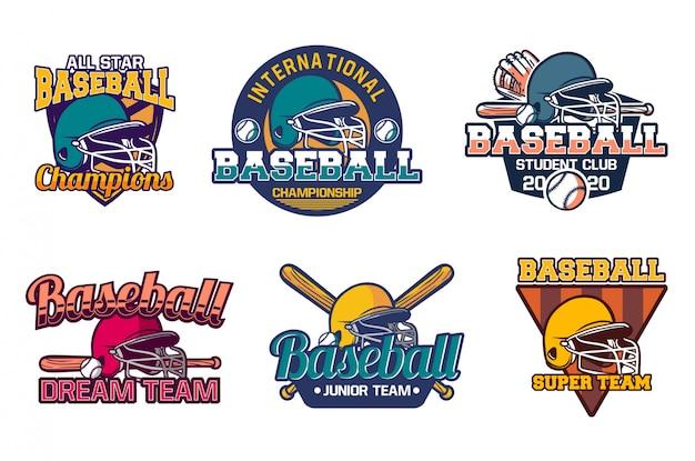 Modèle D'emblème D'insigne De Baseball Vintage Tous Les Champions étoiles Vecteur Premium