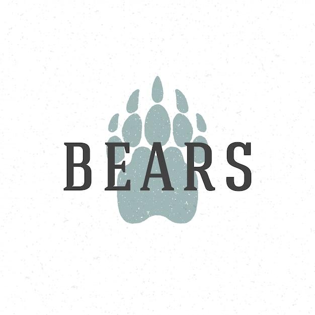 Modèle d'emblème logo dessiné à la main piste sentier d'ours Vecteur Premium