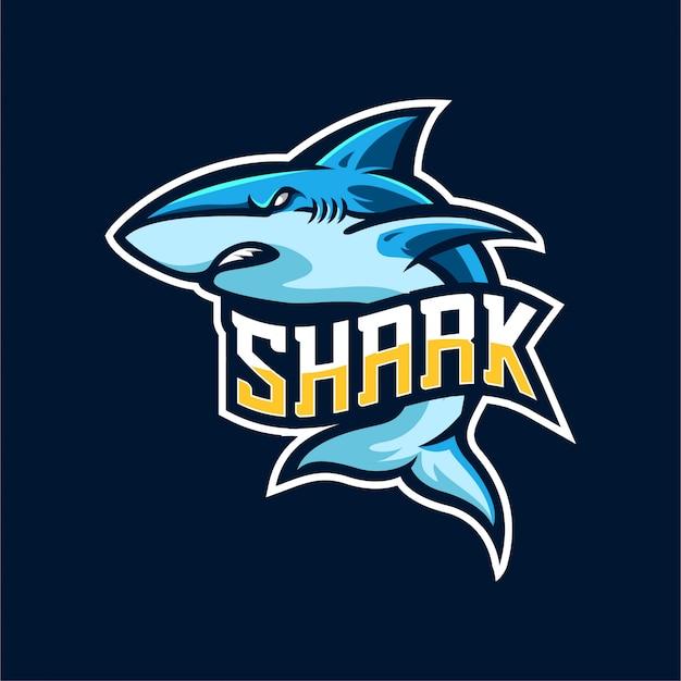 Modèle D'emblème De Logo De Requin Esports Vecteur Premium