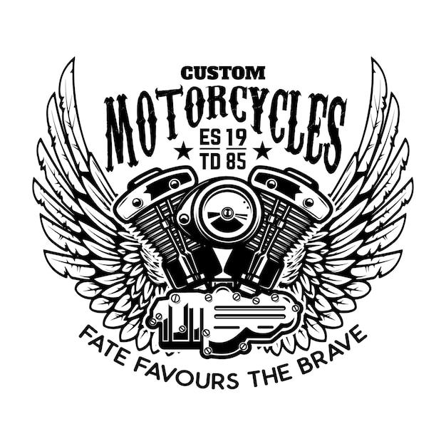 Modèle D'emblème Avec Moteur De Moto Ailé. élément De Design Pour Affiche, Logo, étiquette, Signe, T-shirt. Vecteur Premium