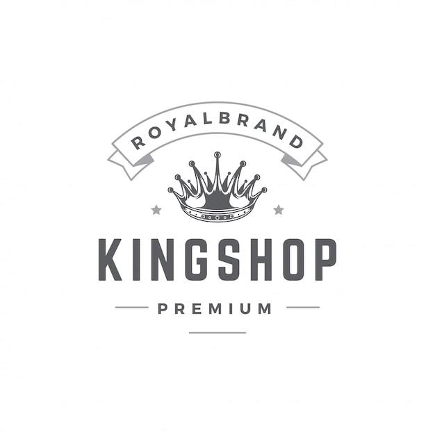 Modèle d'emblème roi couronne avec la typographie. Vecteur Premium