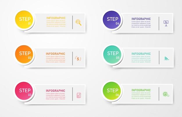 Modèle d'entreprise de conception 6 options infographiques pour les présentations. Vecteur Premium