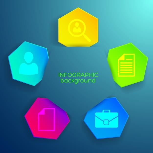 Modèle D'entreprise Infographique Avec Des Icônes Et Des Hexagones Colorés Vecteur gratuit