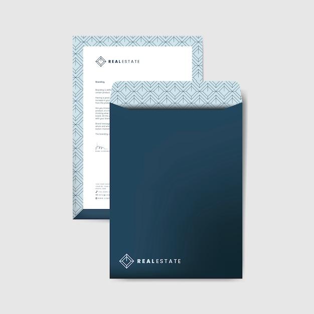 Modèle D'enveloppe D'entreprise Bleu Vecteur gratuit