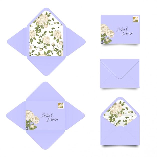 Modèle d'enveloppe d'invitation de mariage Vecteur Premium