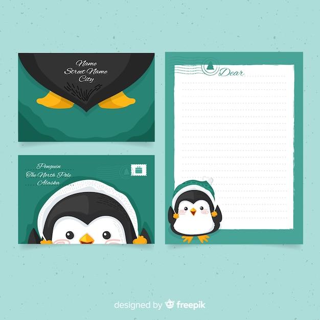 Modèle d'enveloppe de noël de pingouin Vecteur gratuit