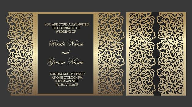 Modèle D'enveloppe De Pli De Porte Découpé Au Laser Pour Les Invitations De Mariage. Bordure Ornée D'éléments Floraux. Vecteur Premium