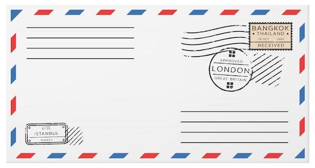 Modèle D'enveloppe Postale Horizontale Vierge Vecteur gratuit