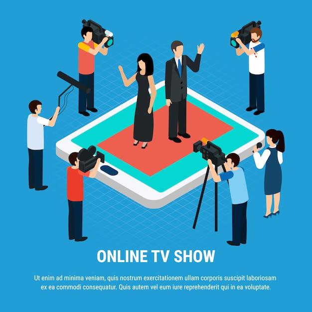 Modèle Avec L'équipe De Tournage Des Journalistes Des Célébrités Des Personnages Humains Sur L'écran De La Tablette Vecteur gratuit