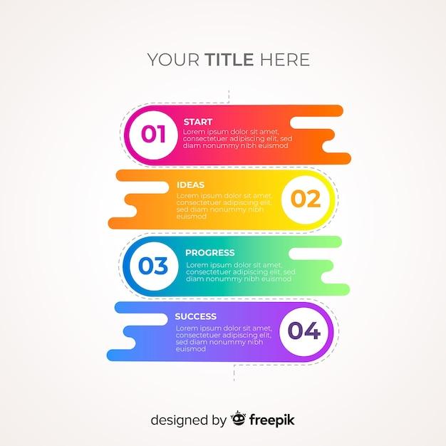 Modèle d'étapes d'infographie coloré Vecteur gratuit