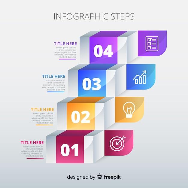Modèle d'étapes d'infographie en dégradé Vecteur gratuit