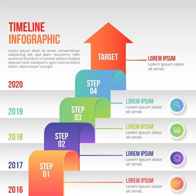 Modèle d'étapes infographie design plat Vecteur gratuit