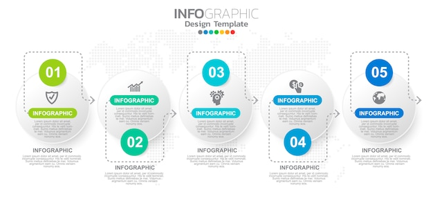 Modèle d'étapes infographiques marketing en ligne numérique pour les contenus de l'entreprise. Vecteur Premium