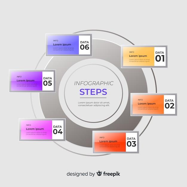 Modèle d'étapes infographiques plat Vecteur gratuit