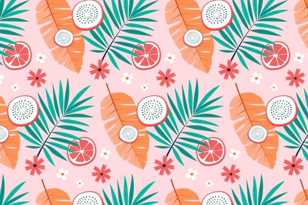 Modèle D'été Avec Des Feuilles Tropicales Et Des Fruits Du Dragon Vecteur Premium