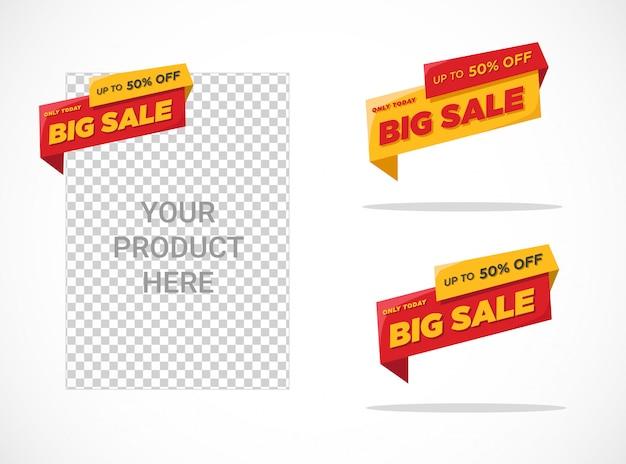 Modèle D'étiquette Grande Vente Plat Vecteur Premium